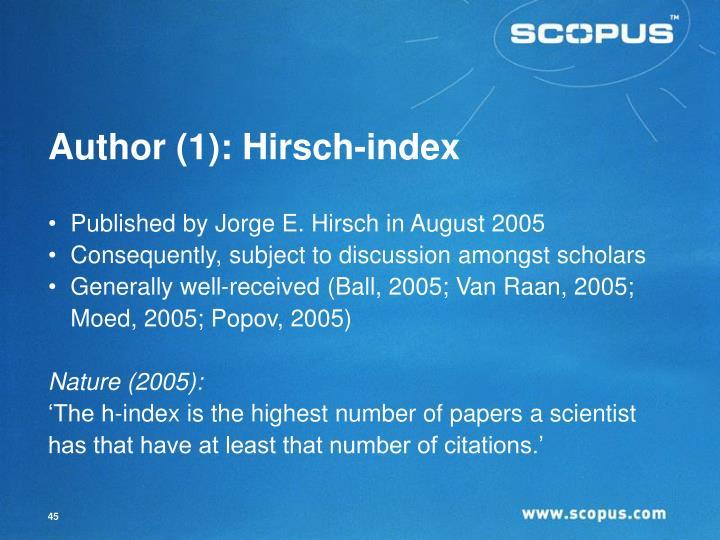 Author (1): Hirsch-index