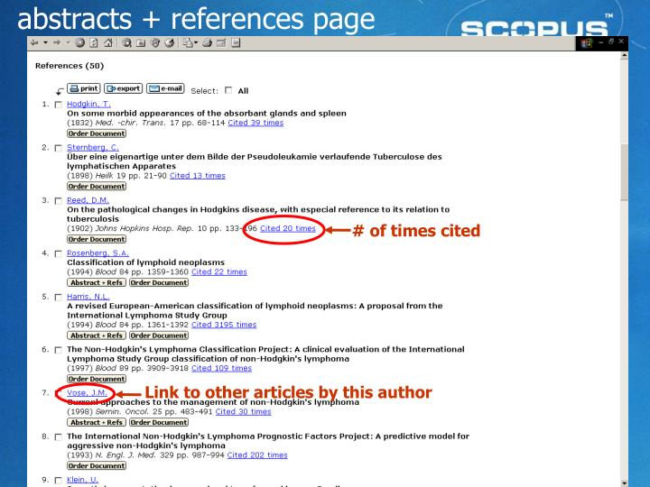 abstracts + references page