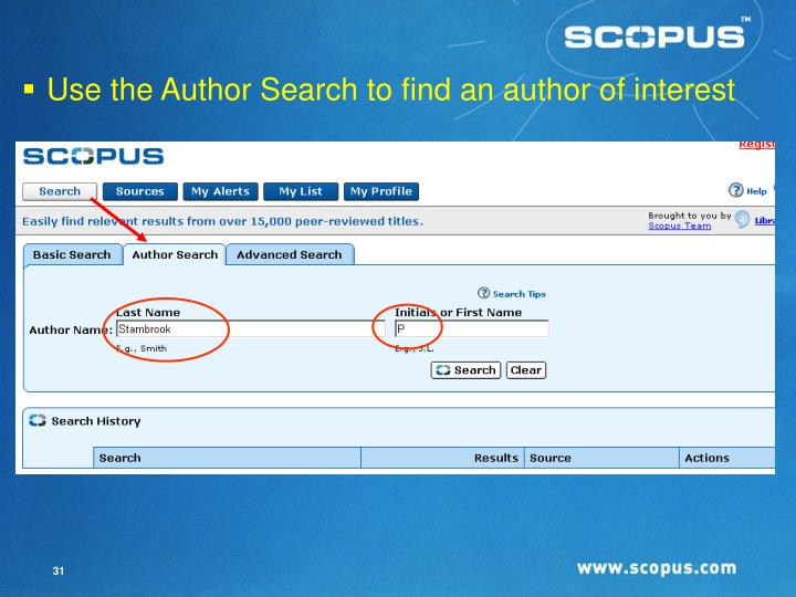 Use the Author Search to find an author of interest