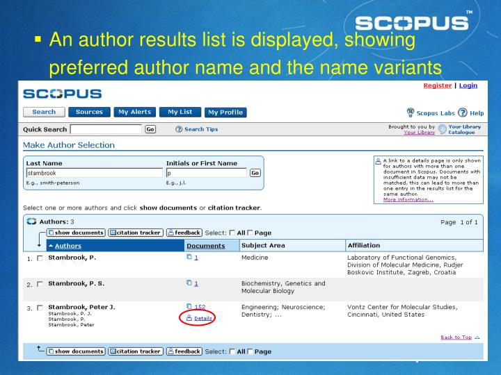 An author results list is displayed, showing preferred author name and the name variants