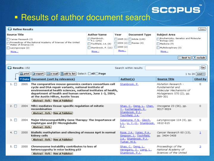 Results of author document search