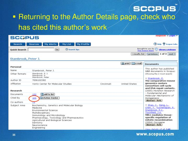 Returning to the Author Details page, check who has cited this author's work