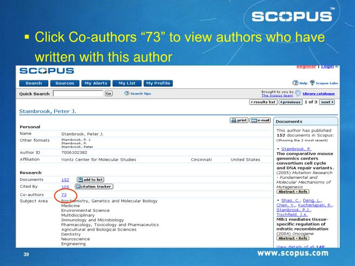 """Click Co-authors """"73"""" to view authors who have written with this author"""