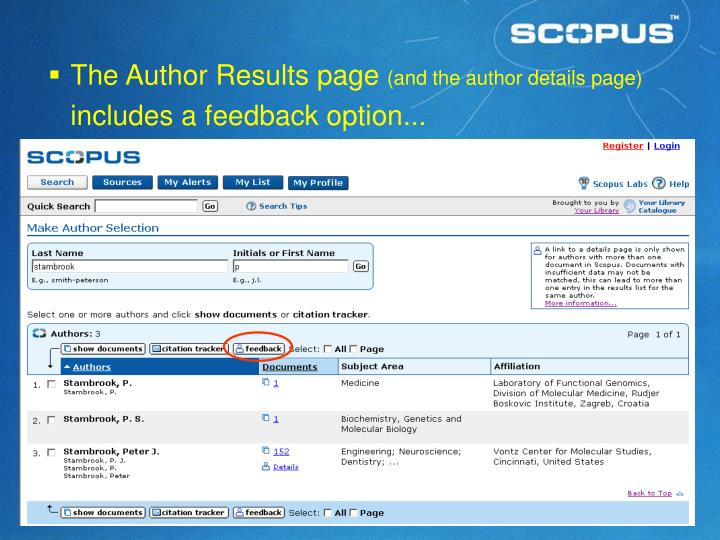 The Author Results page