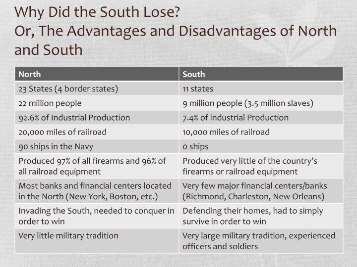 north and south advantages and disadvantage Keep learning what were the southern advantages in the civil war what were some of the advantages and disadvantages of the civil war during the civil war, what advantages did the south have over the north.