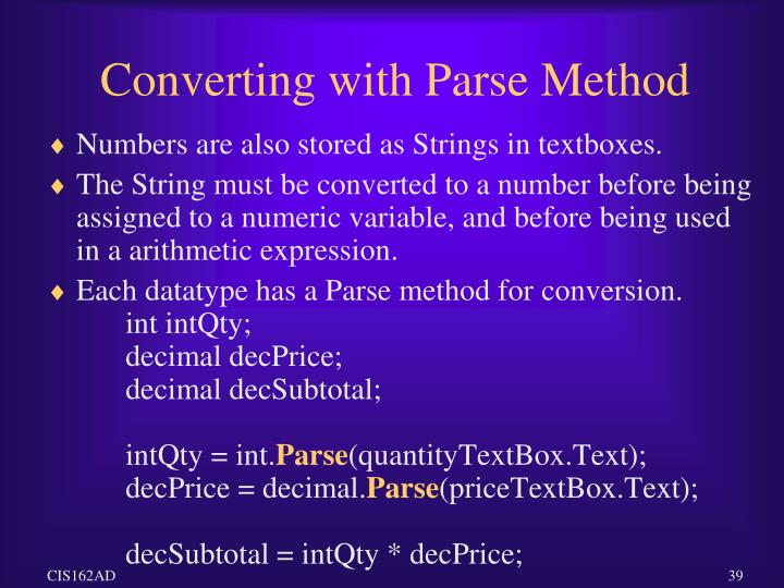 Converting with Parse Method