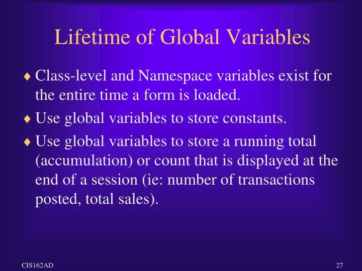 Lifetime of Global Variables