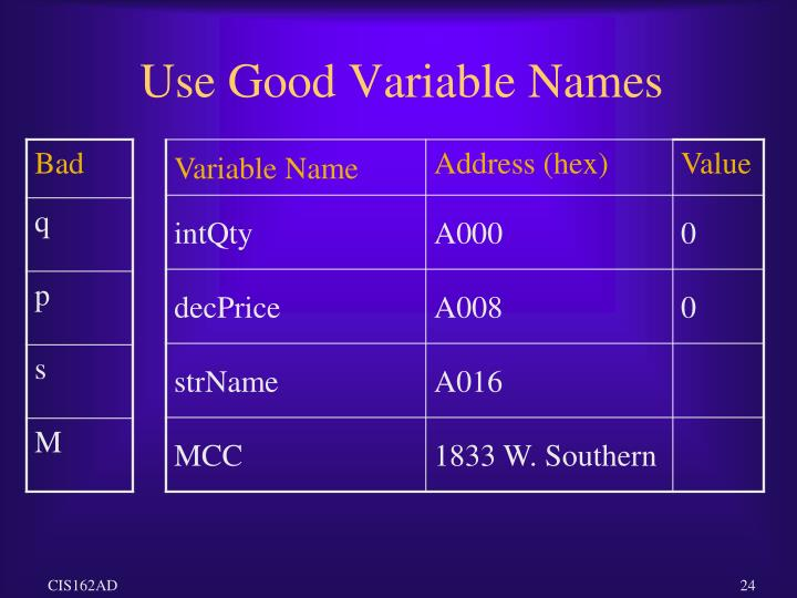 Use Good Variable Names
