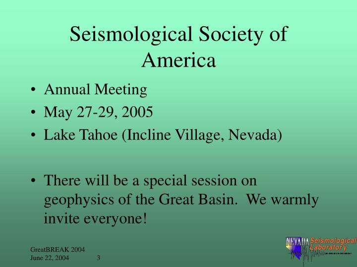 Seismological society of america