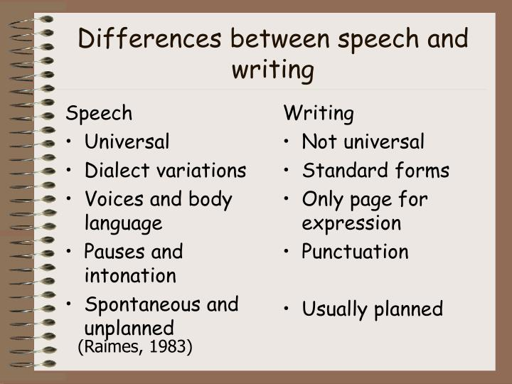 differences between speech and writing Writing begins at the point where speech becomes impossible the possibility of revision is the essential difference between the spoken and written word rohman britton corbett vygotsky sommers: the linear models reduce revision in writing, as in speech, to no more than an afterthought.