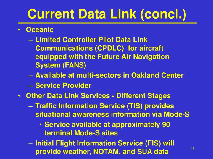 Current Data Link (concl.)