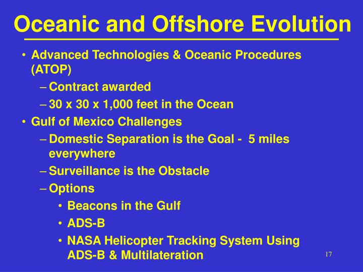 Oceanic and Offshore Evolution