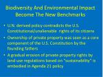 biodiversity and environmental impact become the new benchmarks