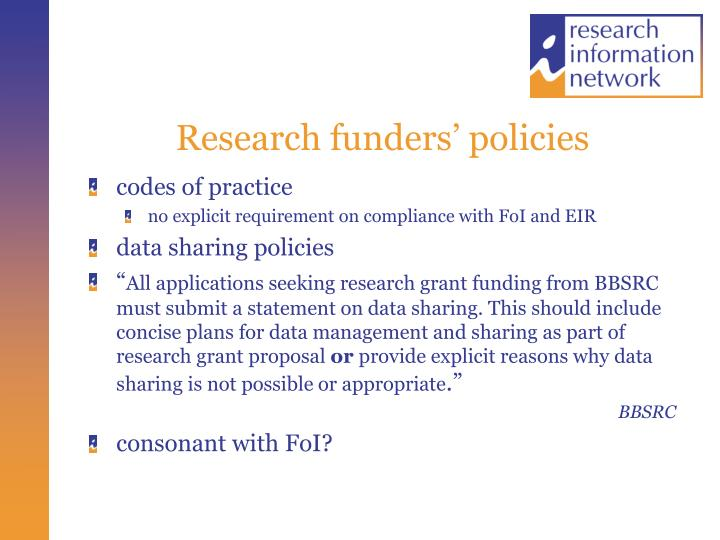 Research funders' policies
