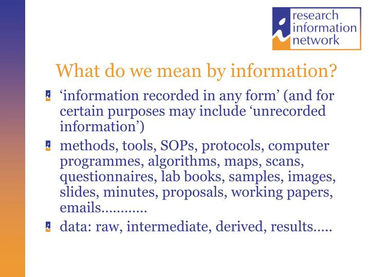 What do we mean by information?