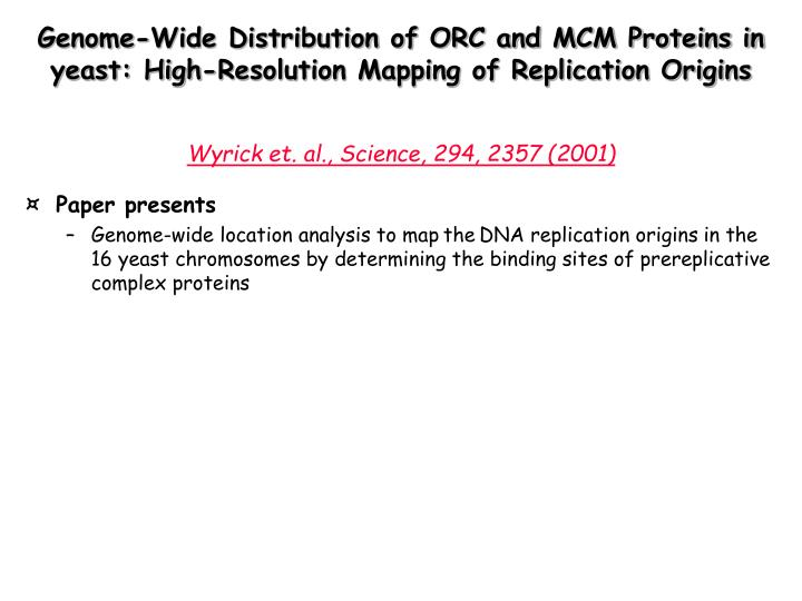 Genome-Wide Distribution of ORC and MCM Proteins in yeast: High-Resolution Mapping of Replication Origins