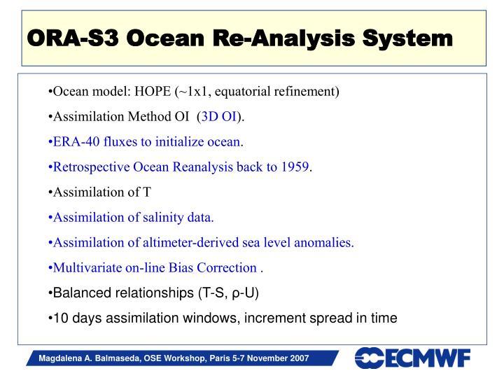 ORA-S3 Ocean Re-Analysis System