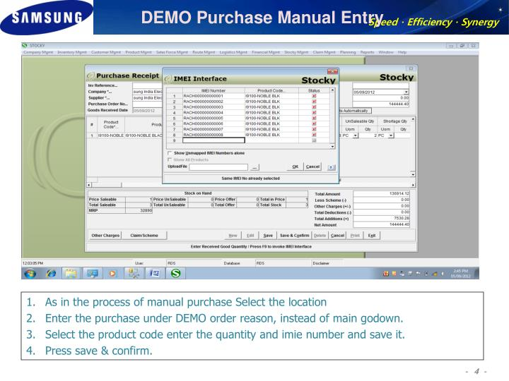 DEMO Purchase Manual Entry