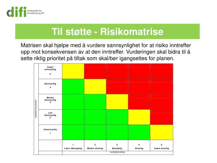 Matrisen skal hjelpe med å vurdere sannsynlighet for at risiko inntreffer opp mot konsekvensen av at den inntreffer. Vurderingen skal bidra til å sette riktig prioritet på tiltak som skal/bør igangsettes for planen.