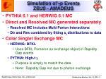 simulation of g p events zeus amadeus