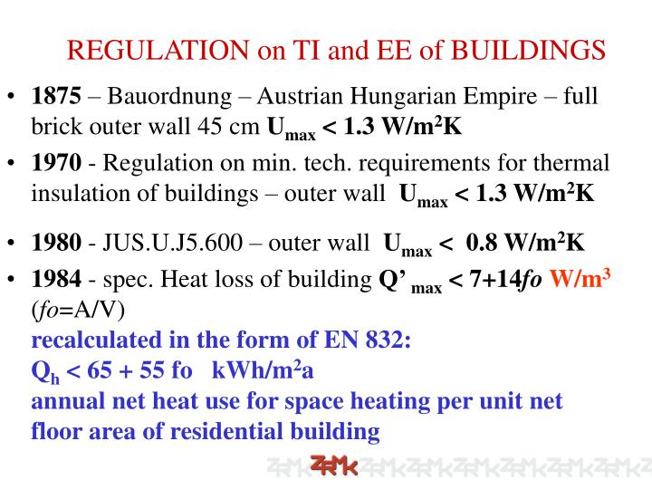 REGULATION on TI and EE of BUILDINGS