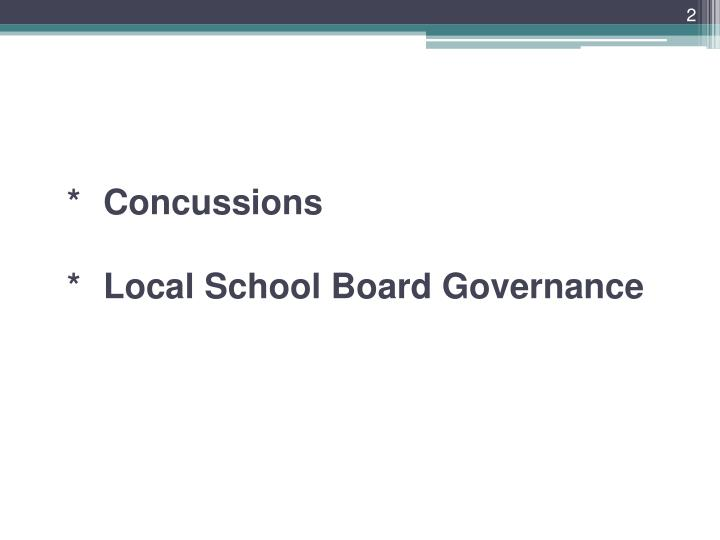 Concussions local school board governance