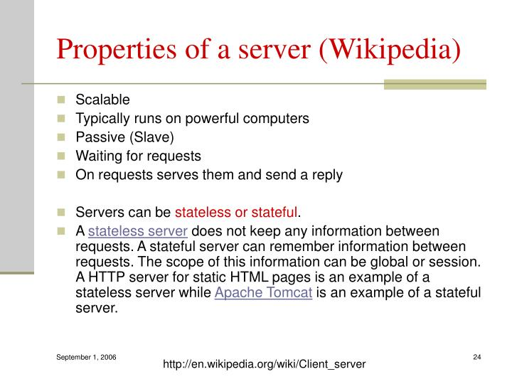 Properties of a server (Wikipedia)
