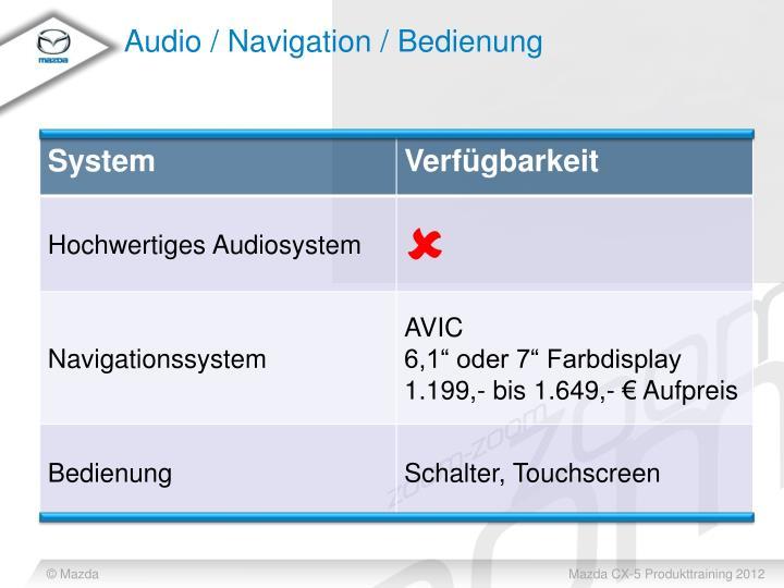 Audio / Navigation / Bedienung