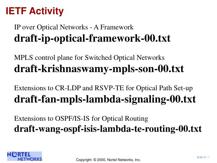 IETF Activity