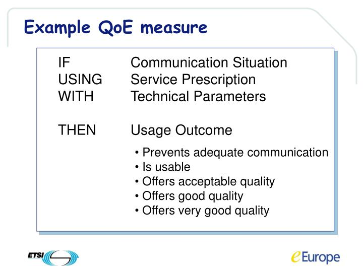 Example QoE measure