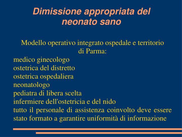 Modello operativo integrato ospedale e territorio