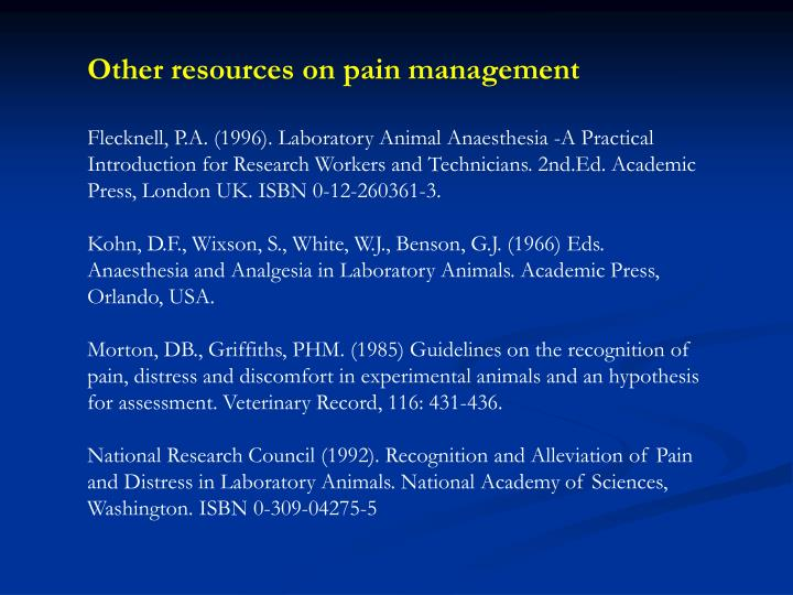 Other resources on pain management