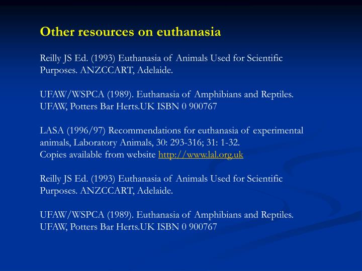 Other resources on euthanasia