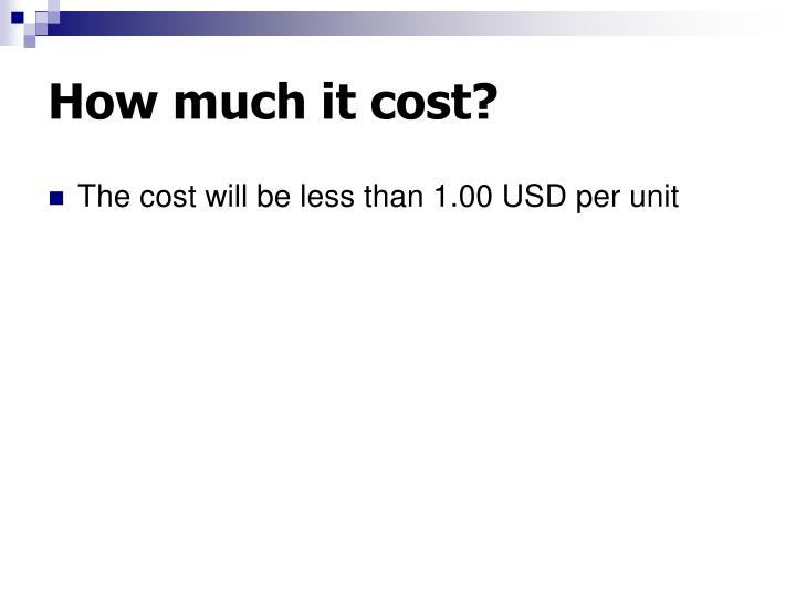 How much it cost?