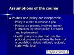 assumptions of the course