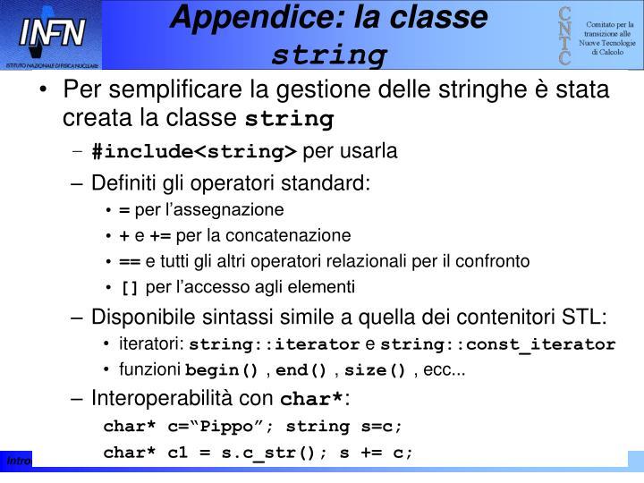 Appendice: la classe