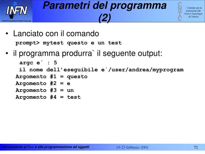 Parametri del programma (2)