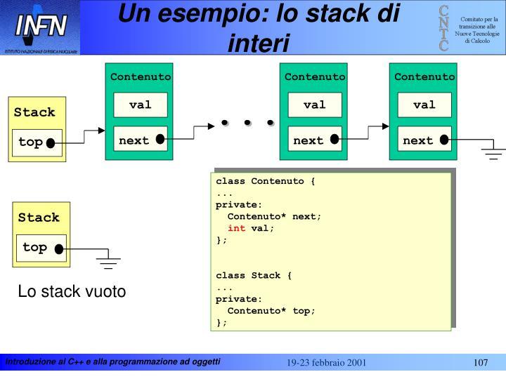 Un esempio: lo stack di interi