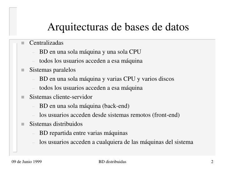 Arquitecturas de bases de datos