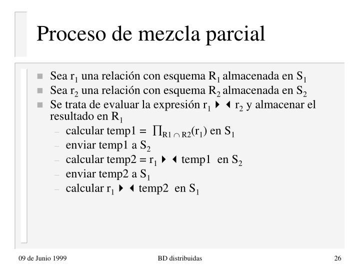 Proceso de mezcla parcial