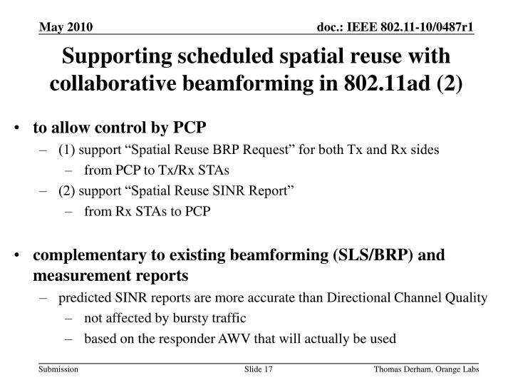 Supporting scheduled spatial reuse with collaborative beamforming in 802.11ad (2)