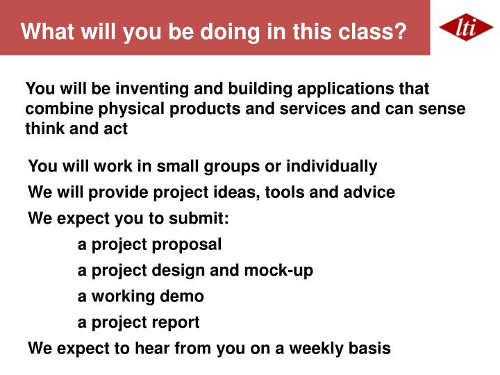 What will you be doing in this class?