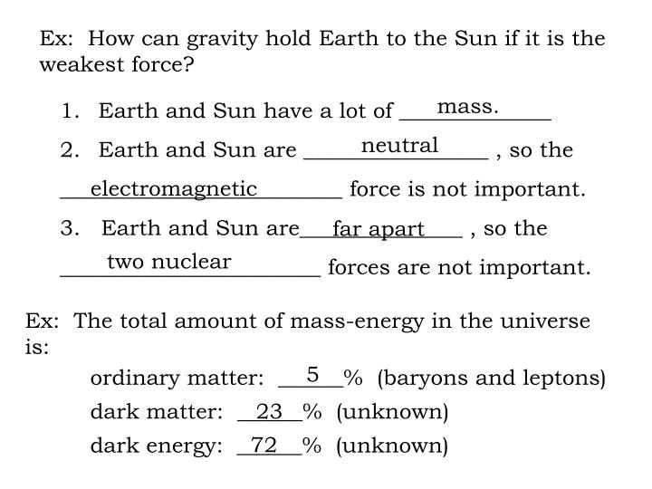 Ex:  How can gravity hold Earth to the Sun if it is the
