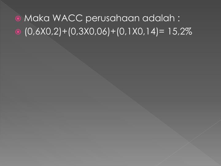 Maka WACC perusahaan adalah :