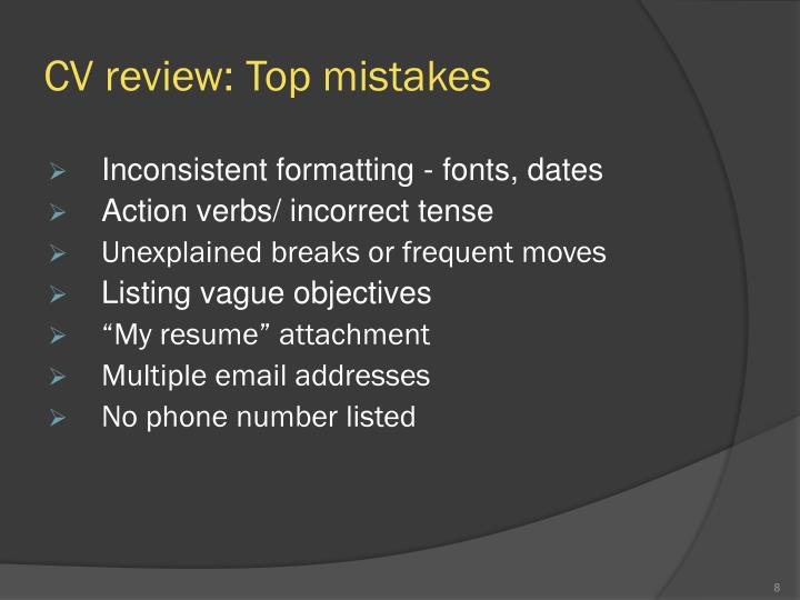 CV review: Top mistakes