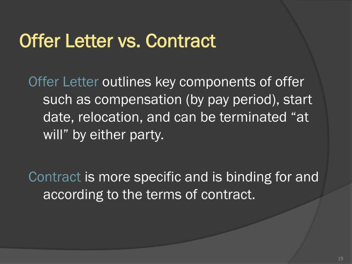 Offer Letter vs. Contract
