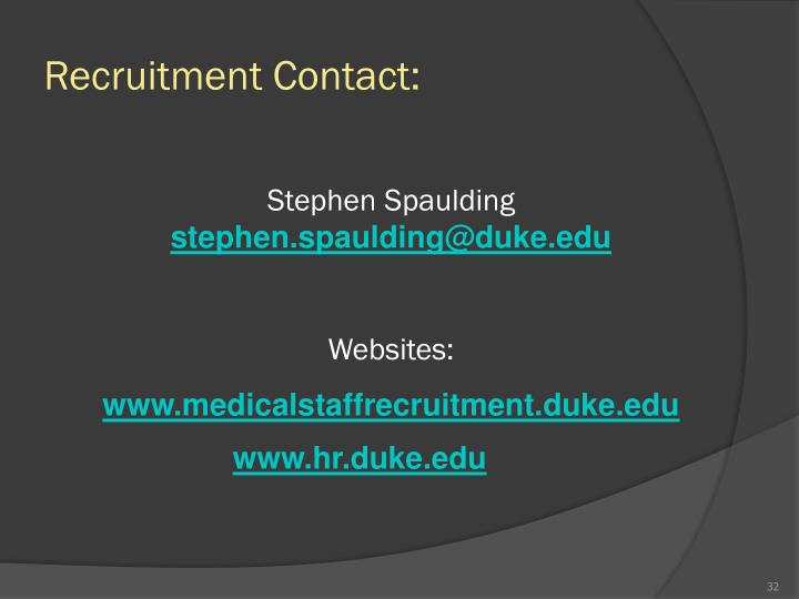 Recruitment Contact: