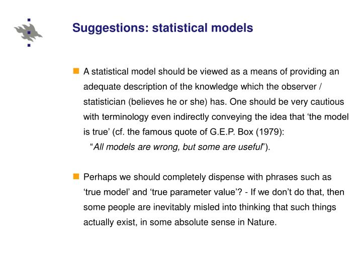Suggestions: statistical models