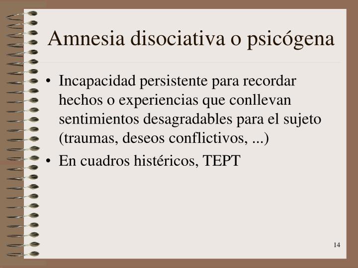 Amnesia disociativa o psicógena