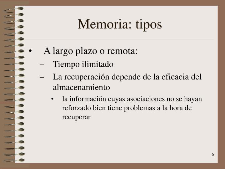Memoria: tipos